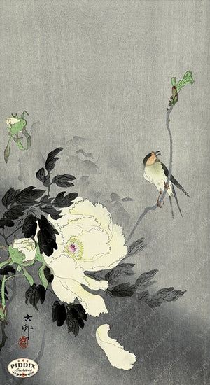 PDXC19622 -- Japanese Bird and Flower Woodblock