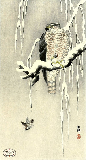 PDXC19624 -- Japanese Birds and Snow Woodblock