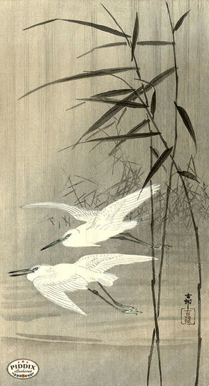 PDXC19628 -- Japanese Birds and Bamboo Woodblock