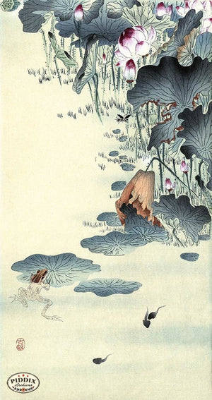 PDXC19631 -- Japanese Frog and Flowers Woodblock