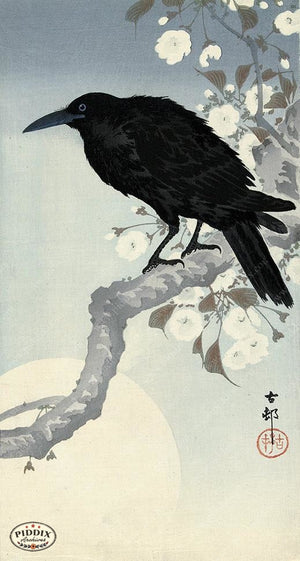 PDXC19632 -- Japanese Raven and Flowers Woodblock
