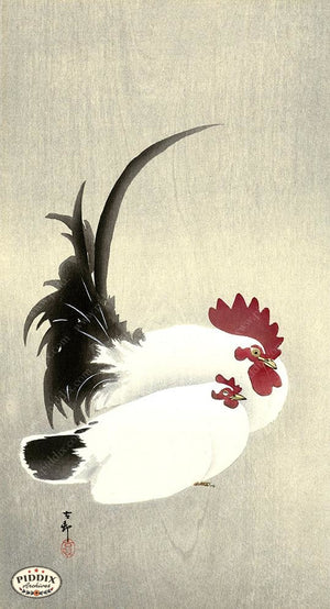 PDXC19633 -- Japanese Rooster and Hen Woodblock