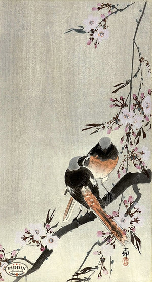 PDXC19635 -- Japanese Birds and Flowers Woodblock