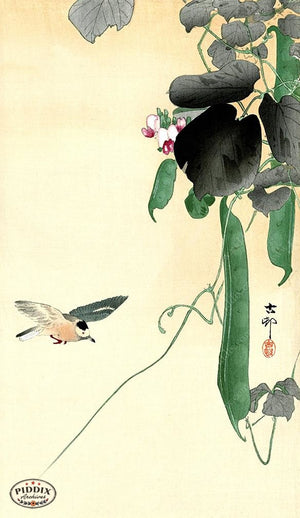 PDXC19636 -- Japanese Bird and Gourds Woodblock