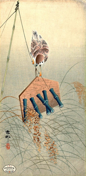 PDXC19637 -- Japanese Bird and Wind Chime Woodblock