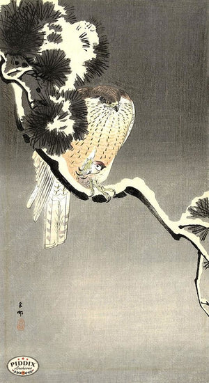 PDXC19639 -- Japanese Birds and Snow Woodblock