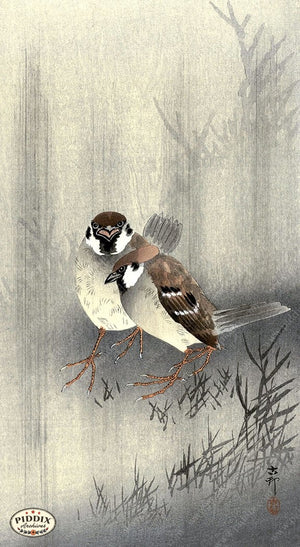 PDXC19642 -- Japanese Birds and Grass Woodblock