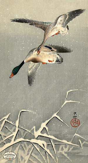 PDXC19643 -- Japanese Ducks and Snow Woodblock