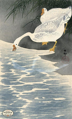 PDXC19647-- Japanese Geese and Water Woodblock