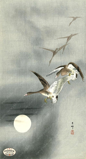PDXC19648-- Japanese Geese and Moon Woodblock