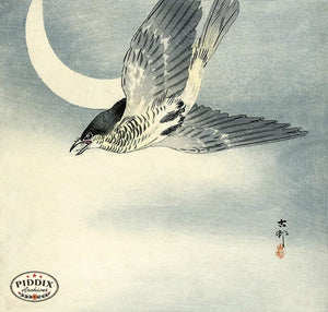 PDXC19652-- Japanese Bird and Moon Woodblock