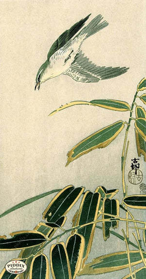 PDXC19654-- Japanese Bird and Grass Woodblock