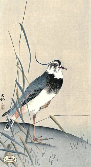PDXC19656 -- Japanese Bird and Leaves Woodblock