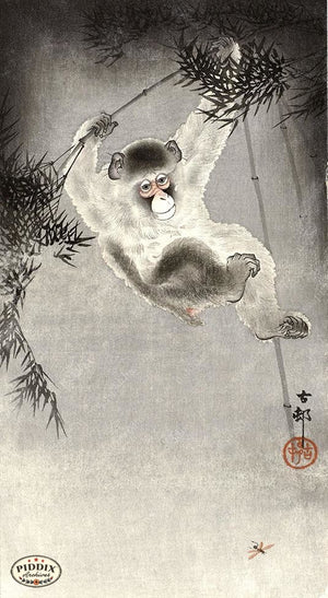 PDXC19664 -- Japanese Swinging Monkey Woodblock