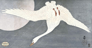 PDXC19665 -- Japanese Goose and Moon Woodblock
