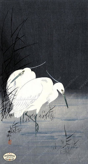 PDXC19668 -- Japanese Egrets Woodblock