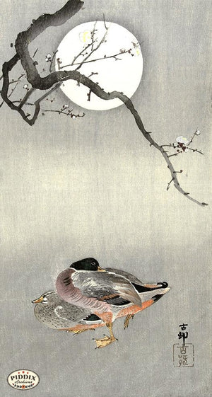 PDXC19670 -- Japanese Ducks and Moon Woodblock