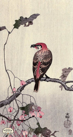 PDXC19673 -- Japanese Bird and Leaves Woodblock