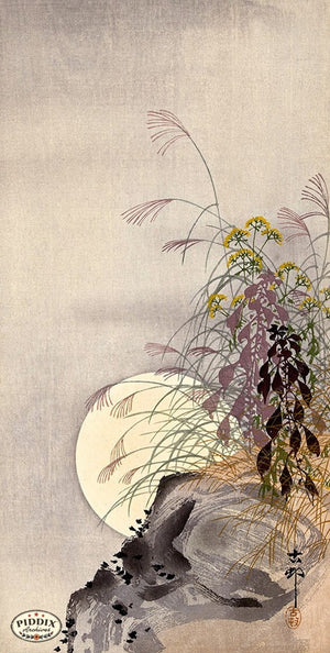 PDXC19674 -- Japanese Flowers and Moon Woodblock