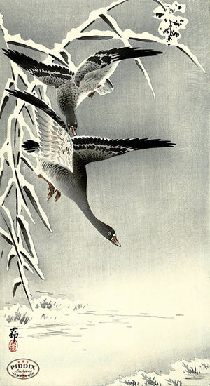 PDXC19675 -- Japanese Geese and Snow Woodblock