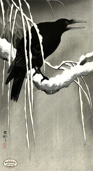 PDXC19676 -- Japanese Raven and Snow Woodblock