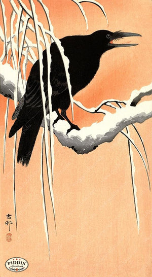 PDXC19677 -- Japanese Raven in Snow Woodblock