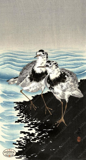 PDXC19678 -- Japanese Birds and Water Woodblock