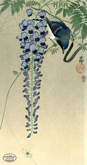 PDXC19679 -- Japanese Bird and Flowers Woodblock