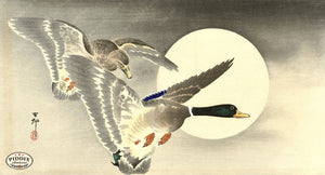 PDXC19680 -- Japanese Ducks and Moon Woodblock