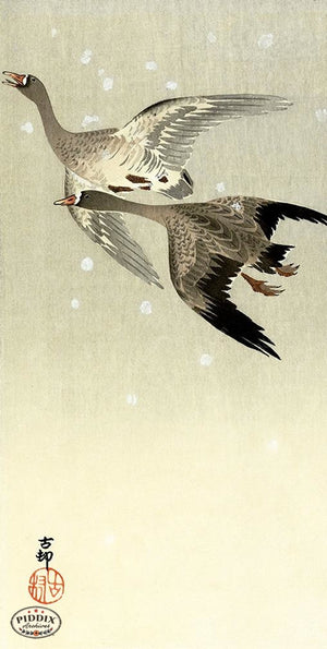 PDXC19681 -- Japanese Geese and Snow Woodblock