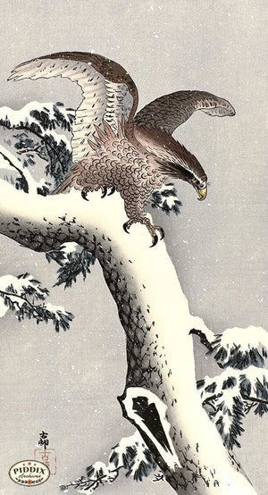 PDXC19683 -- Japanese Eagle and Snow Woodblock