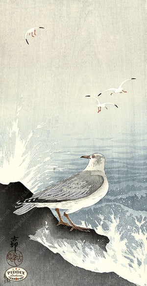 PDXC19688 -- Japanese Birds and Waves Woodblock