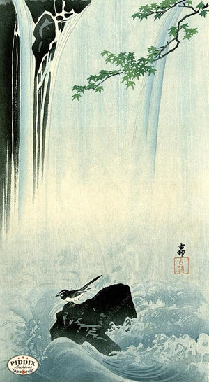 PDXC19690 -- Japanese Bird and Waterfall Woodblock