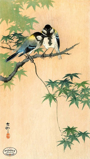 PDXC19691 -- Japanese Birds and Leaves Woodblock