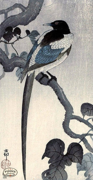PDXC19694 -- Japanese Bird and Leaves Woodblock