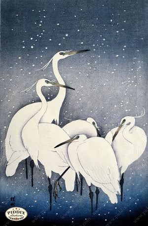 PDXC19701 -- Japanese Egrets Woodblock