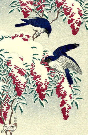 PDXC19702 -- Japanese Birds in Snow Woodblock