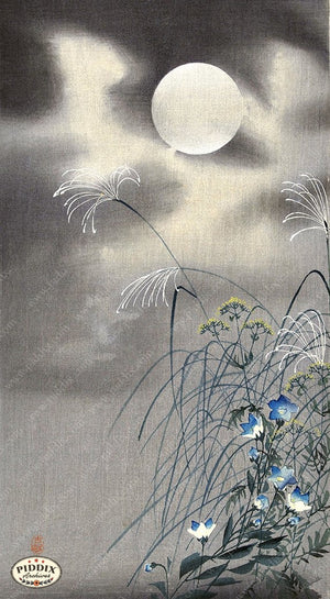 PDXC19706 -- Japanese Flowers and Moon Woodblock