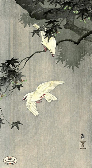 PDXC19708 -- Japanese Birds and Leaves Woodblock
