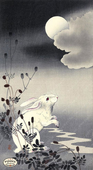 PDXC19709 -- Japanese Rabbit and Moon Woodblock