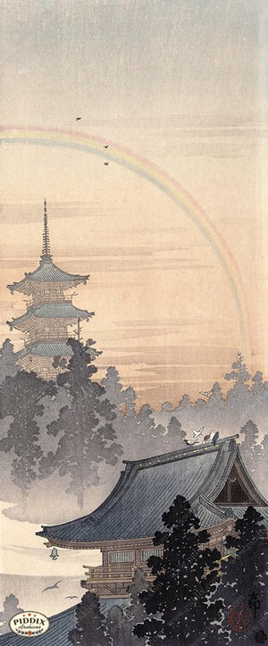 PDXC19722 -- Japanese Temple and Rainbow Woodblock