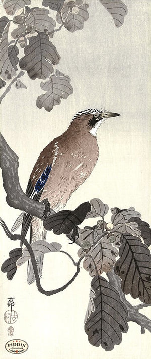 PDXC19725 -- Japanese Bird and Leaves Woodblock