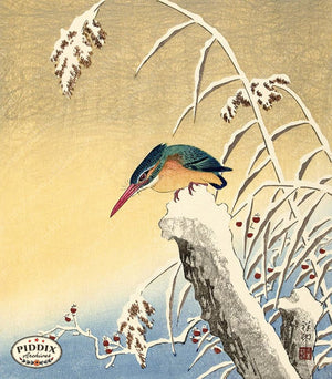 PDXC19727 -- Japanese Kingfisher Bird in Snow Woodblock