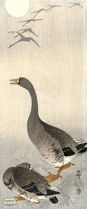 PDXC19729 -- Japanese Goose and Moon Woodblock