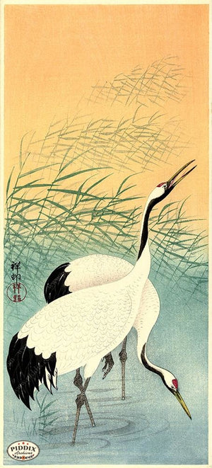 PDXC19731 -- Japanese Cranes Woodblock