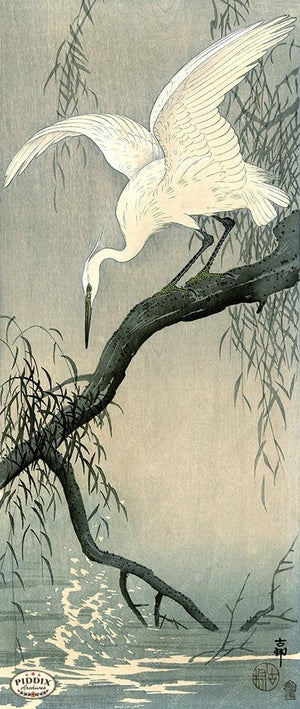 PDXC19732 -- Japanese Egret Woodblock