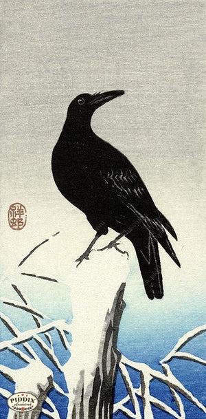 PDXC19739 -- Japanese Raven in Snow Woodblock