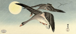 PDXC19740 -- Japanese Geese and Moon Woodblock