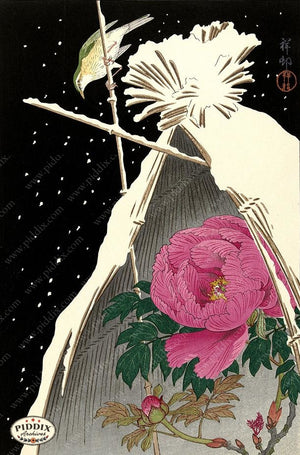 PDXC19742 -- Japanese Flower and Bird Woodblock
