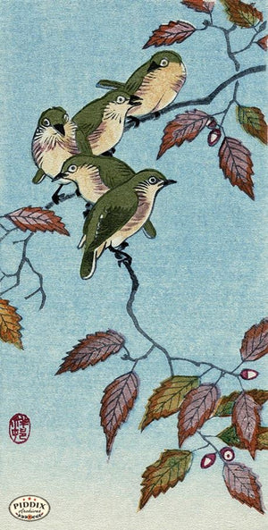 PDXC19743 -- Japanese Birds and Leaves Woodblock
